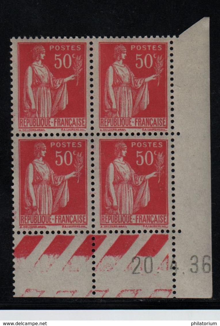 FRANCE  Coin Daté ** Type Paix 50c Rouge Yvert 283  20.4.36 Neuf Sans Charnière - 1930-1939