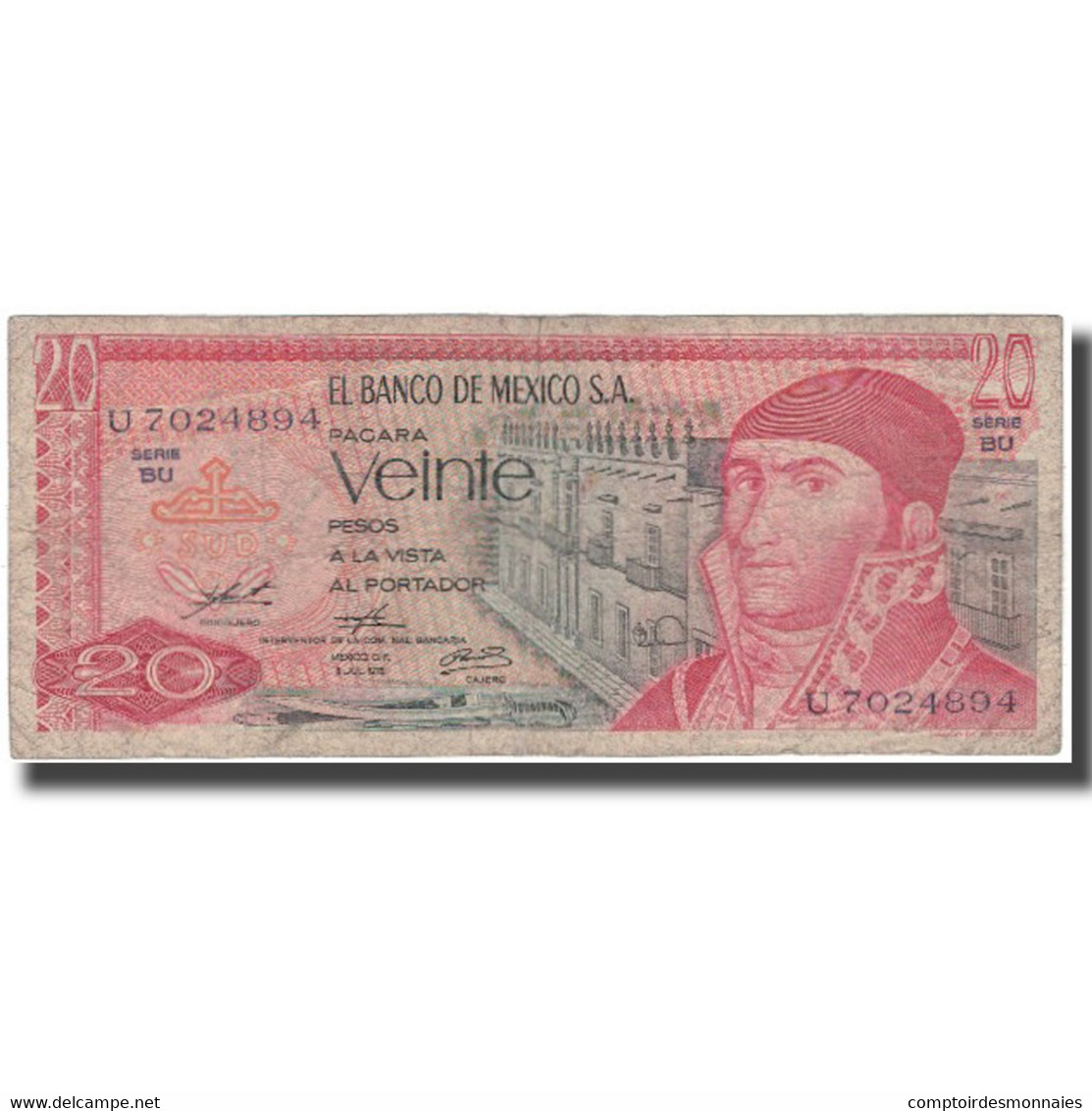 Billet, Mexique, 20 Pesos, 1976-07-08, KM:64c, TB - Mexico