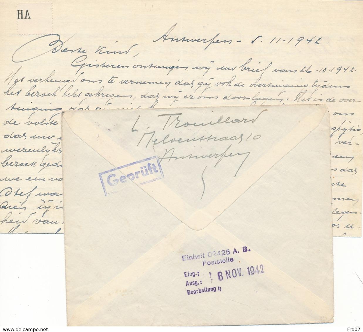 Brief Naar Kriegswehrmachtgefangnis Antwerpen 22 VIII 1942 En Antwoord – Politieke Gevangen – Censuur Stempel - Guerre 40-45