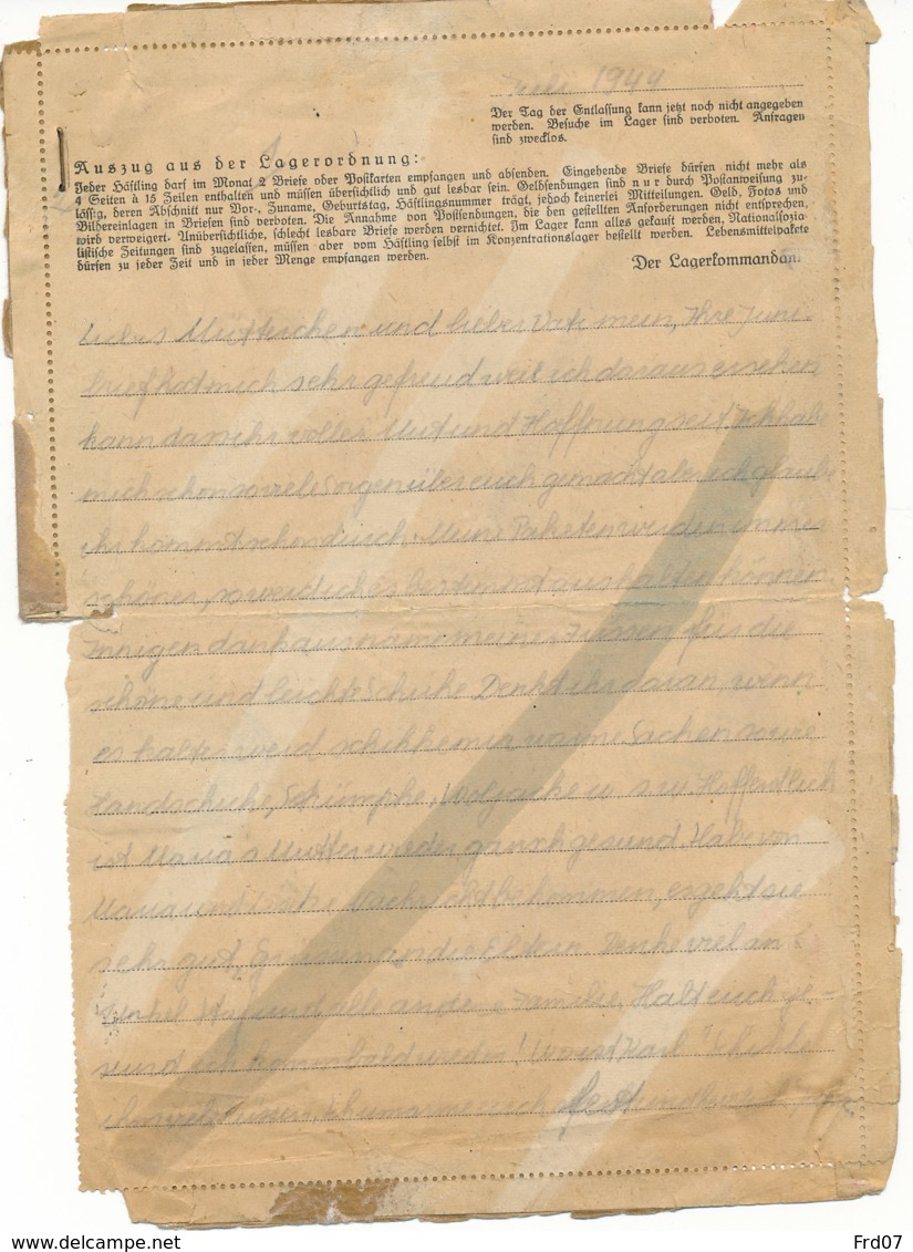 Brief Met Inhoud Van F.K.L. Ravensburg – Furstenberg(Meckl) 14.8.44 - Censuur - WW II