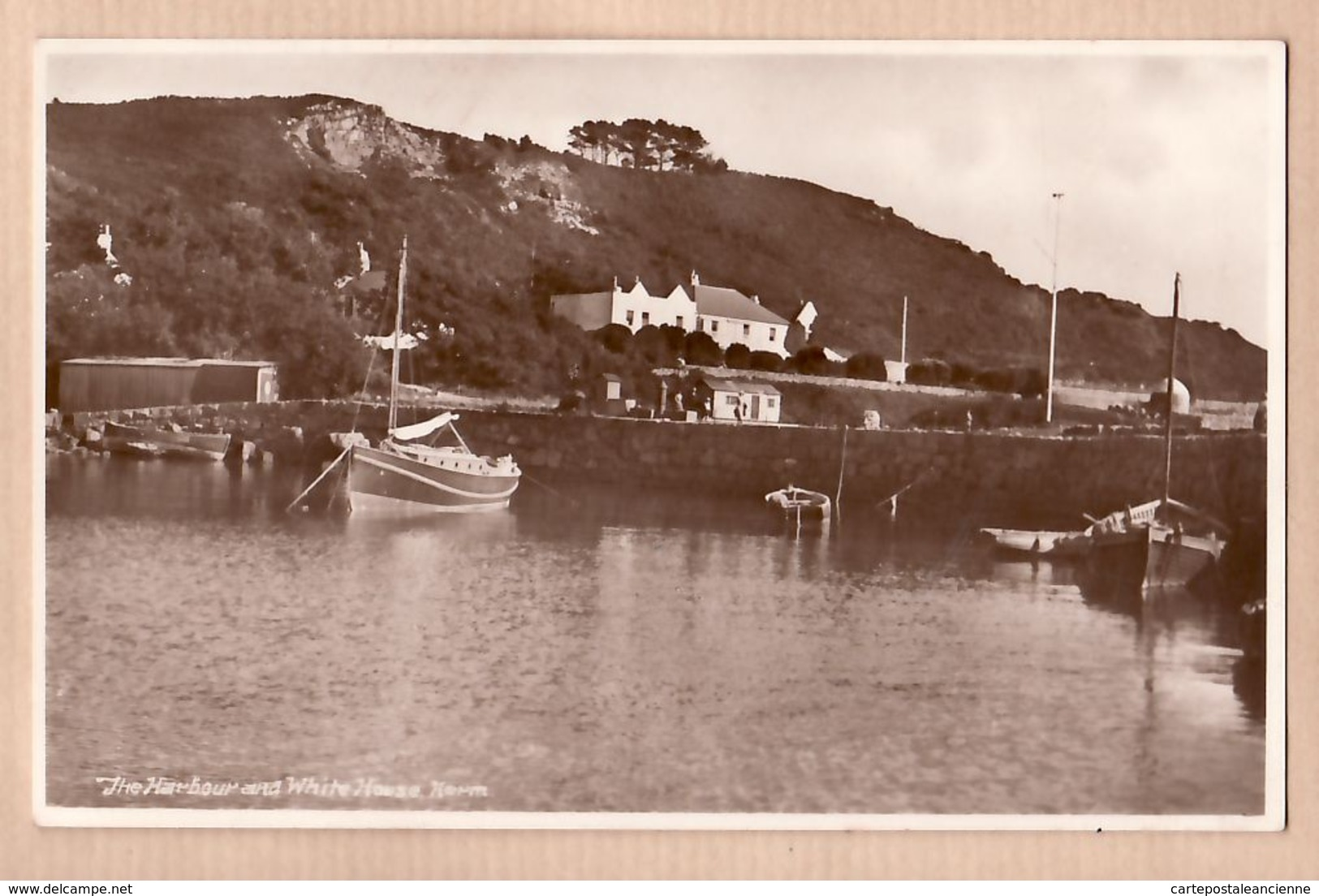 Uk007 Rare HERM Haerme Island Harbour And WHITE HOUSE 1930s -Bromide Published Guernsey Press / Peu Commun - Herm