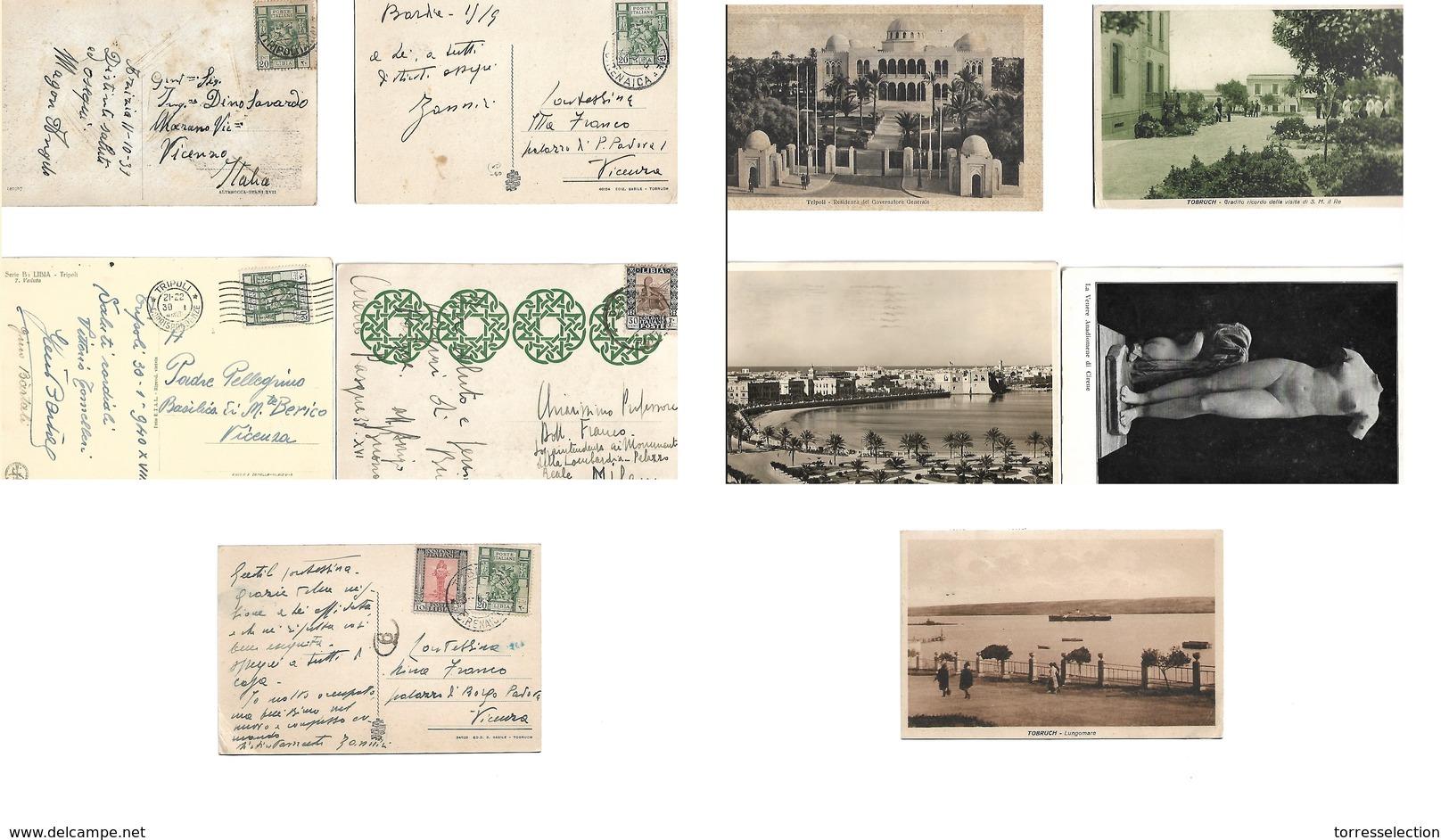 Libia. 1935. Five Diff Circulated Fkd Ppcs Addressed To Italy, Including Cirenaica, Tobruk, Tripoli, Cirene, Azizzia, Ba - Libia