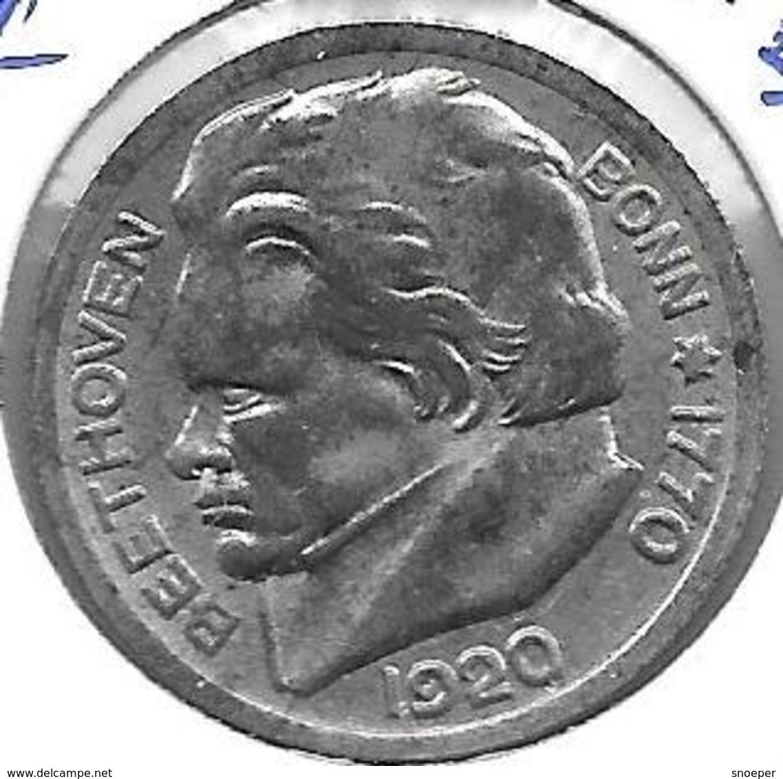*notgeld Bonn Beethoven 50 Pfennig 1920 Fe 1781.7/F51.3A/b   B 3 MM VON HAARLOCKE - [ 2] 1871-1918 : Impero Tedesco