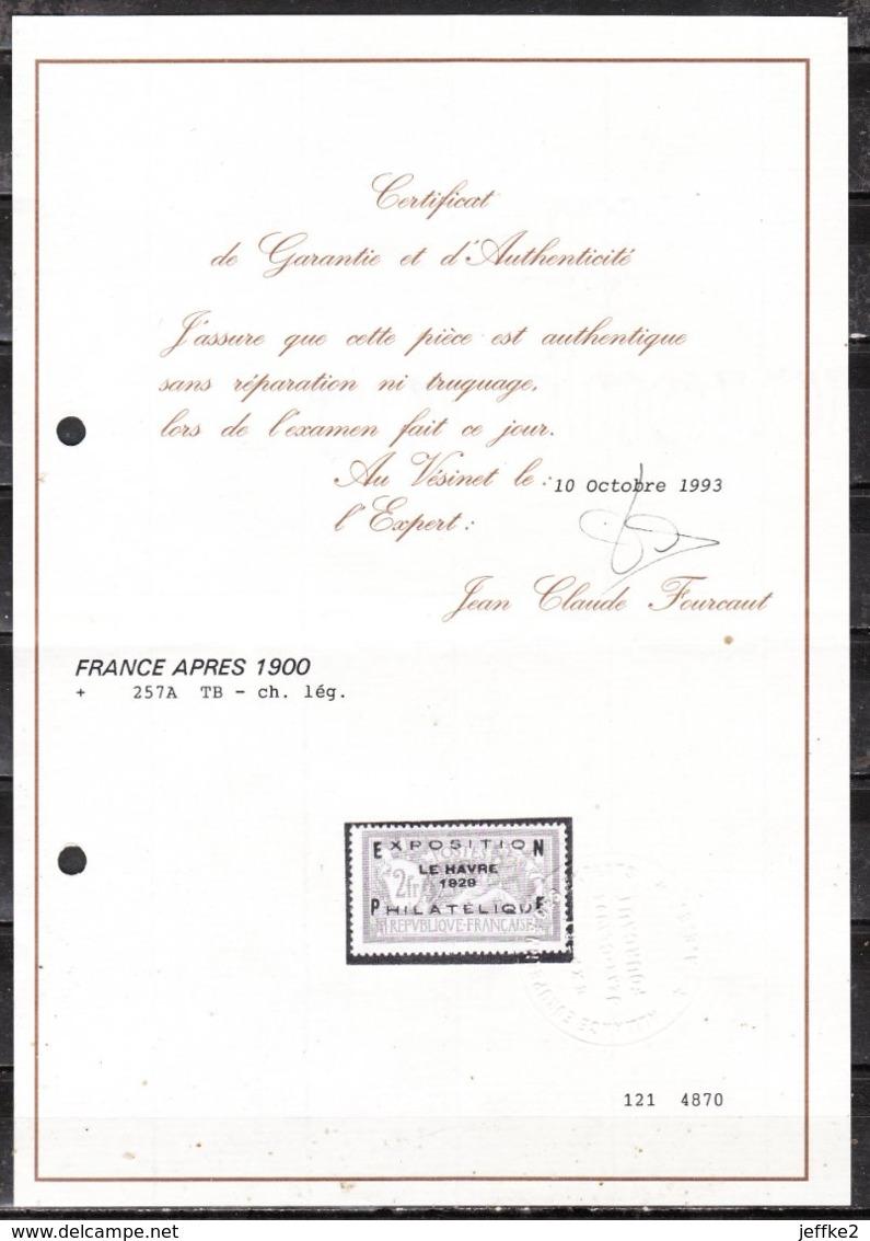 257A*  Exposition Philatélique Du Havre - Bonne Valeur - MH* - Certificat - LOOK!!!! - Neufs