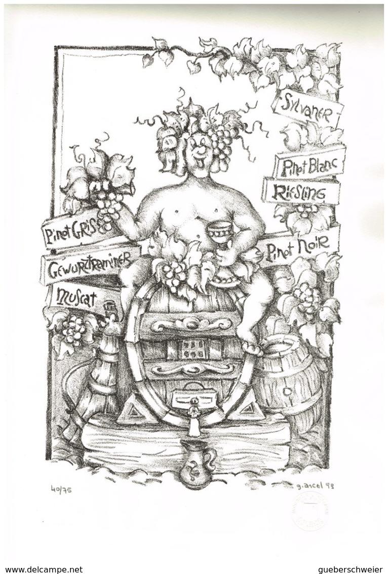 """Lithographie Sur Pierre """"BACCHUS"""" Dessiné Par Guy Ancel 1993 Imprimé Par Bernard Borocco Avec Certificat - Lithographies"""