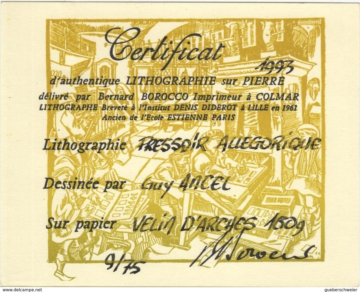 """Lithographie Sur Pierre """"PRESSOIR ALLEGORIQUE"""" Dessiné Par Guy Ancel 1993 Imprimé Par Bernard Borocco Avec Certificat - Lithographies"""