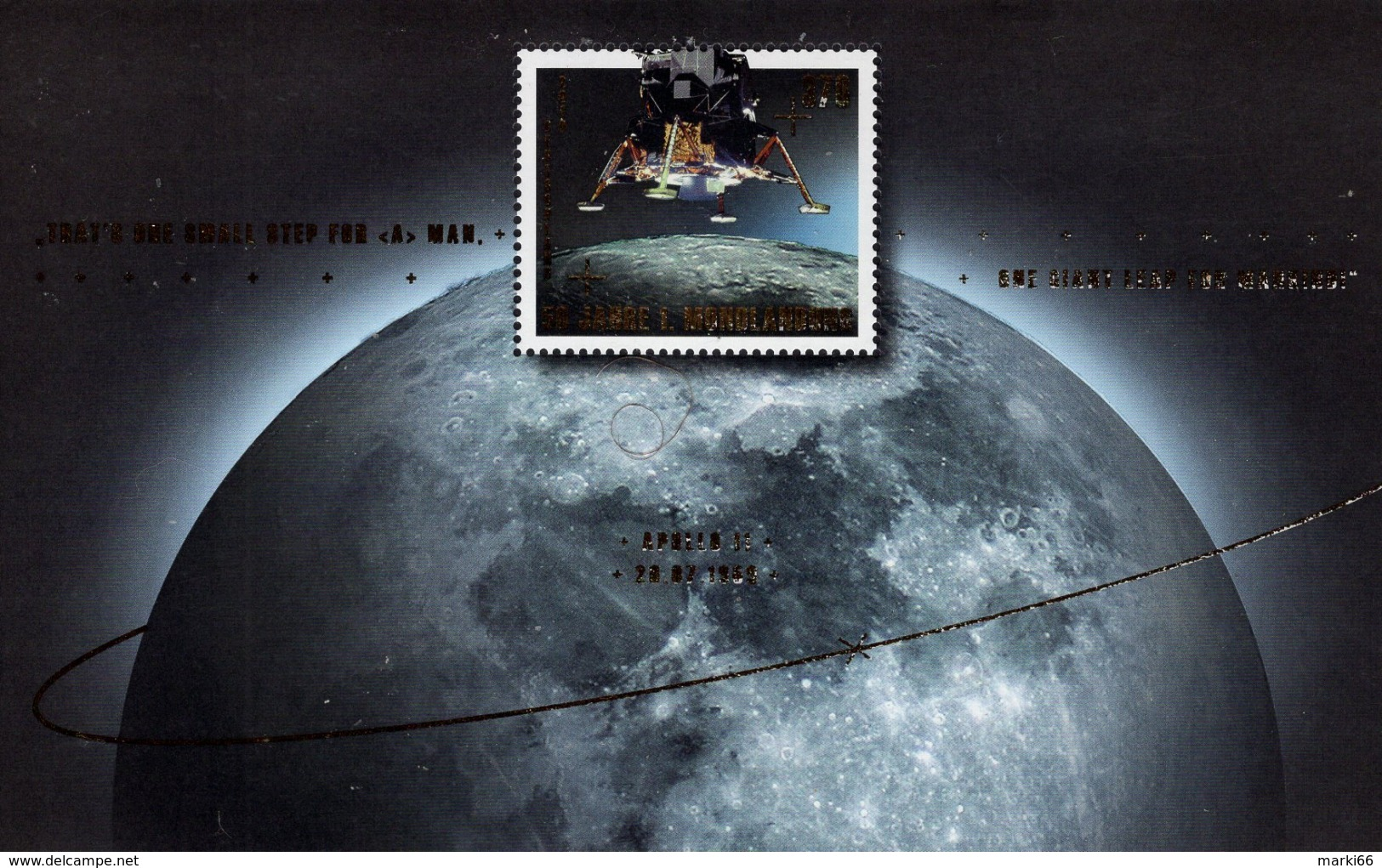 Germany - 2019 - 50th Anniversary Of The Moon Landing - Mint Souvenir Sheet With Golden Hot Folio Intaglio - [7] Repubblica Federale