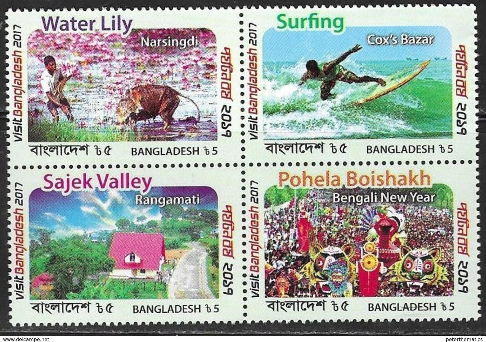 BANGLADESH , 2018, MNH, TOURISM, FESTIVALS, FAUNA, CATTLE, SURFING, BOATS, 4v - Holidays & Tourism