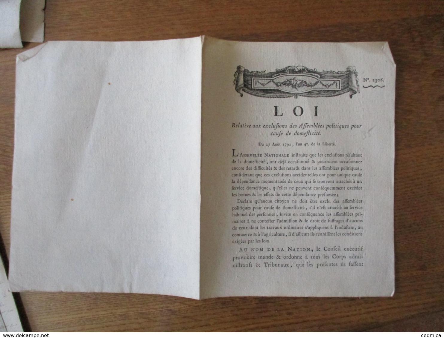 LOI DU 27 AOUT 1792 AN 4e DE LA LIBERTE RELATIVE AUX EXCLUSIONS DES ASSEMBLEES POLITIQUESPOUR CAUSE DE DOMESTICITE - Décrets & Lois