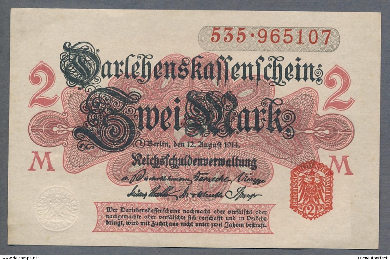 Pick 53 Ro 52b DEU-59b   2 Mark 1914 UNC ! - [ 2] 1871-1918 : Impero Tedesco