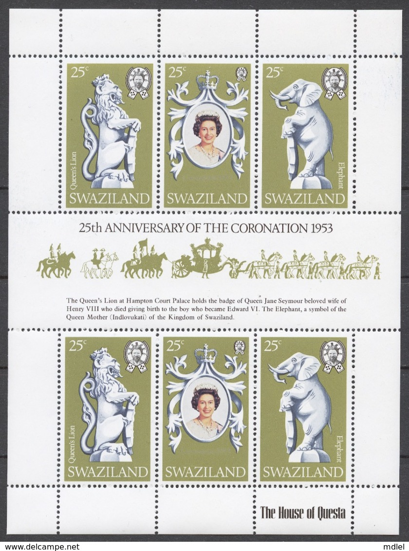 Swaziland 1978 Mi# 293-95** ELIZABETH II CORONATION, 25th ANNIV. - Swaziland (1968-...)