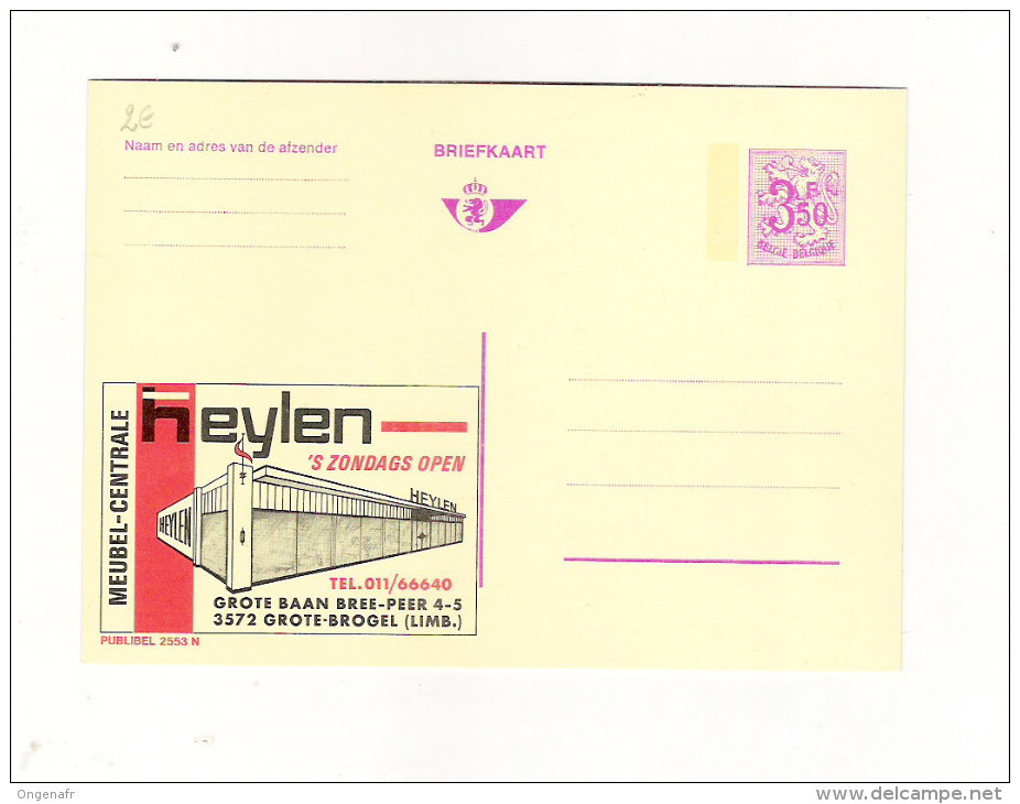 Publibel Neuve N° 2553 (Meubles: HEYLEN  -  Grote-Brogel) - Publibels