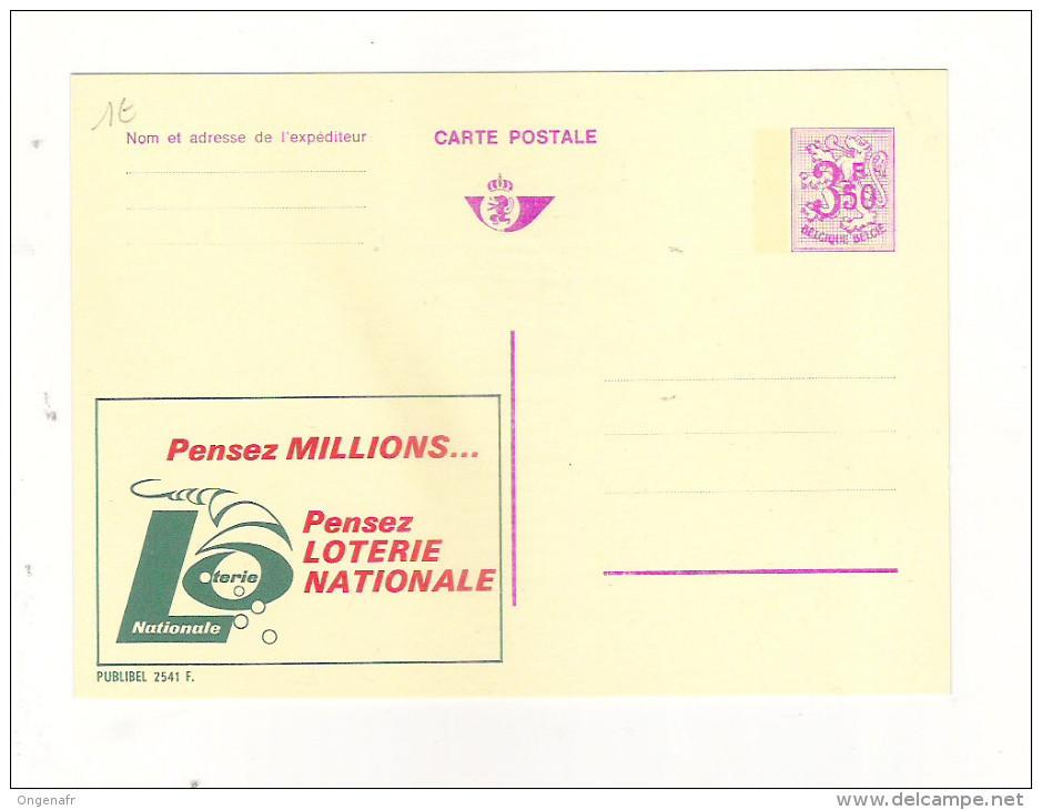 Publibel Neuve N° 2541 (Pensez Millions Pensez LOTERIE NATIONALE) - Stamped Stationery