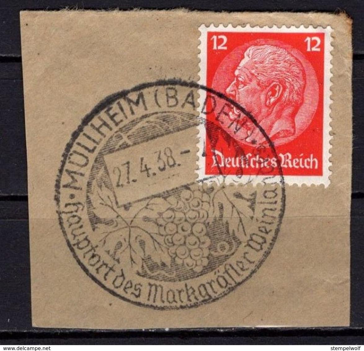 Briefstueck, Hindenburg, SoSt Weintraube Muellheim 1938 (78906) - Covers & Documents