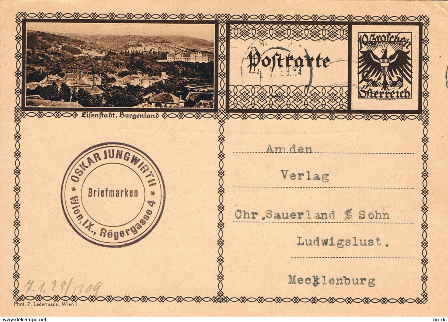 Österreich Bildpostkarte Eisenstadt 1929 - Ganzsachen