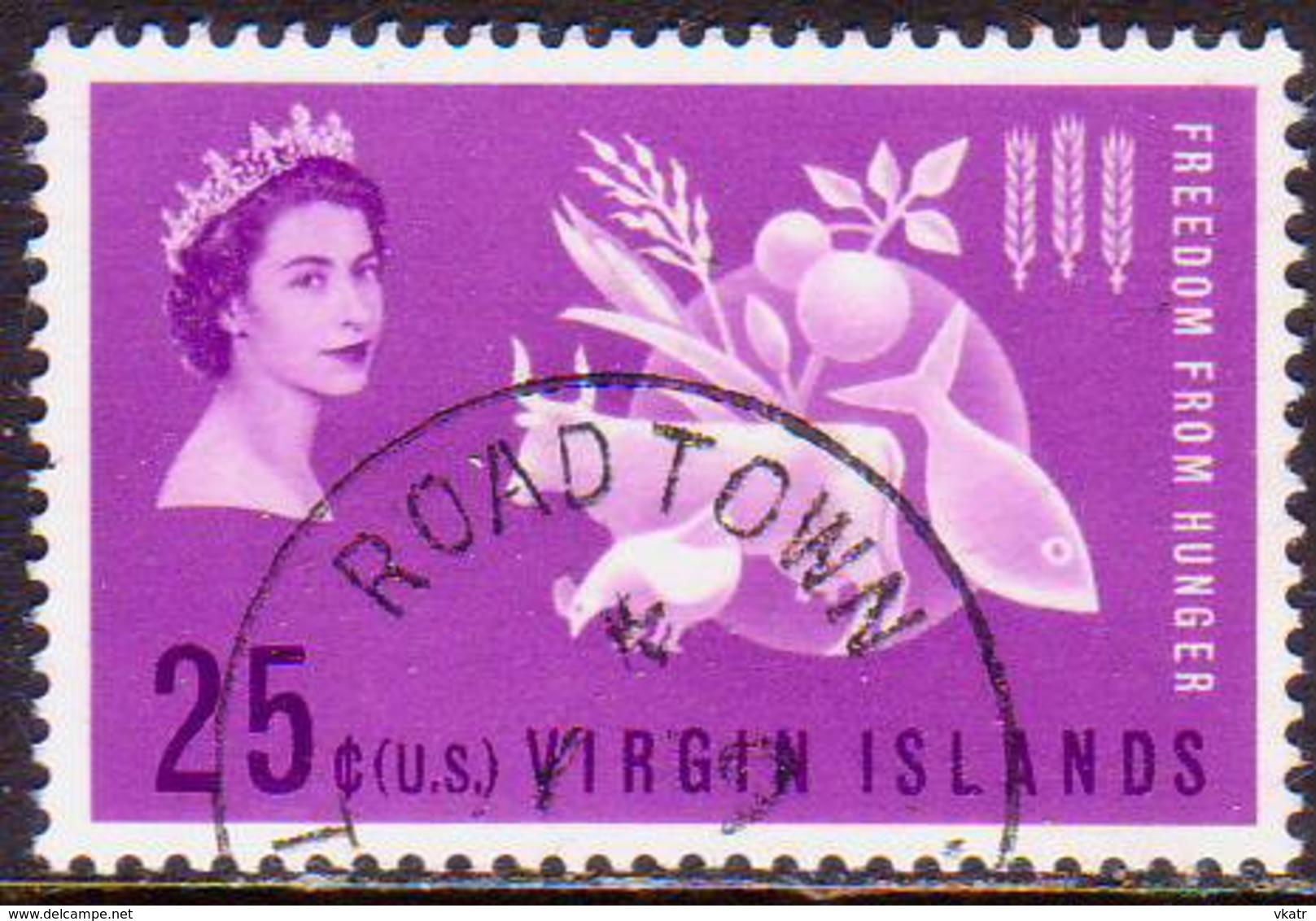 BRITISH VIRGIN ISLANDS 1963 SG 174 25c Used Freedom From Hunger - British Virgin Islands