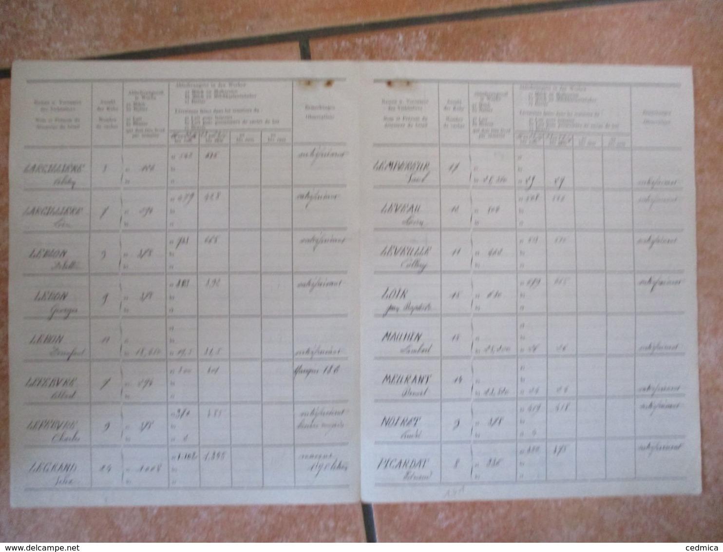28 JUIN 1941LE MAIRE GODART GEMEINDE LA GROISE NAMEN U. VORNAMEN DES VIEHHALTERS ANZAL DER KÜHE ABLIEFERUNGSSOLL JE WOC - Documents Historiques