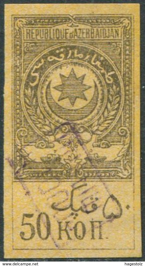 Soviet Azerbaijan 1920 Revenue 1000 R. / 50 Kop. Fiscal Tax Stempelmarke Gebührenmarke Russia Aserbaidschan Azerbaïdjan - Azerbaïjan