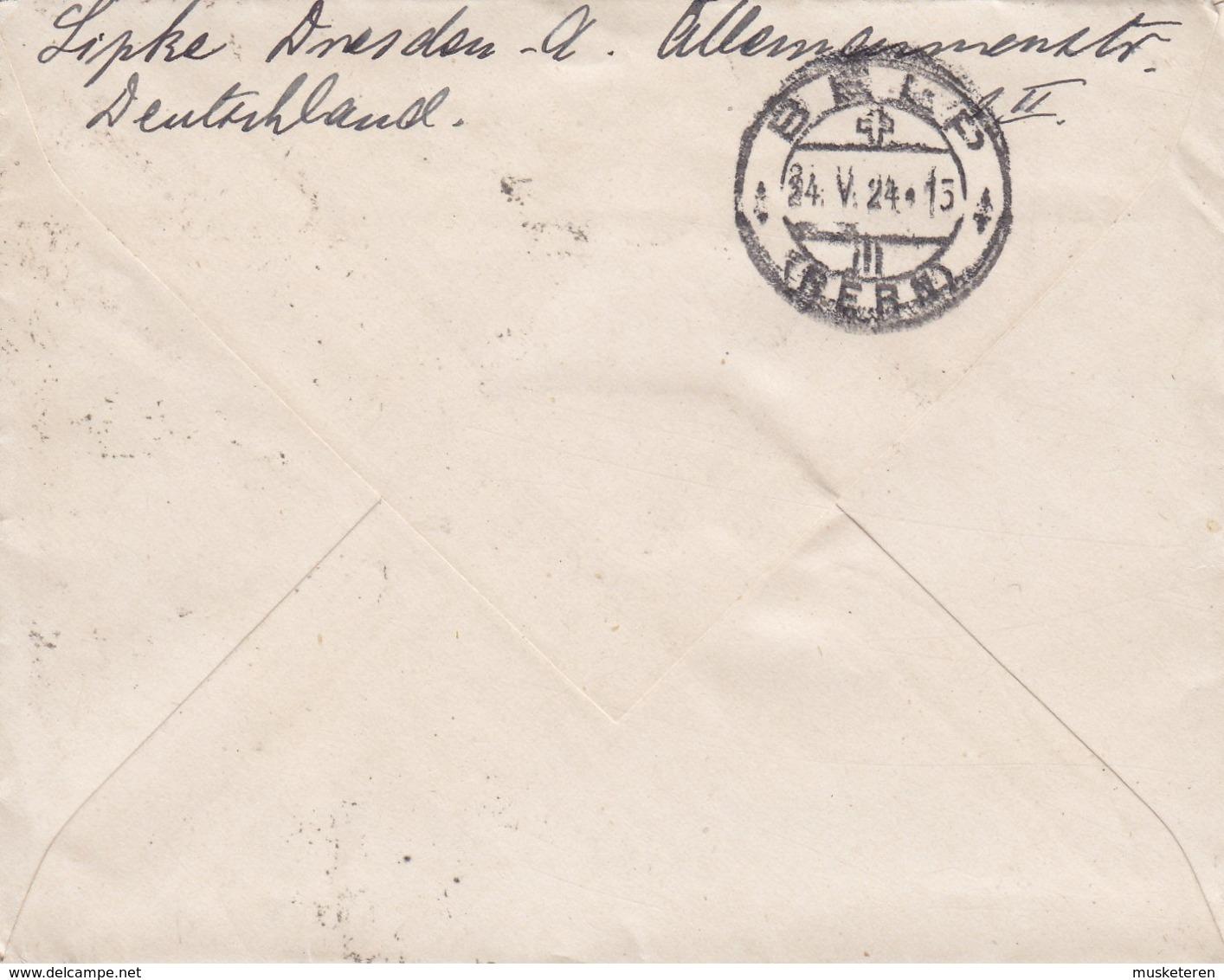 Germany Deutsches Reich 'Petite' DRESDEN 1924 Cover Brief BELP Schweiz (Arr. Cds.) 3- Sripe 10 Pf. Adler Eagle - Deutschland