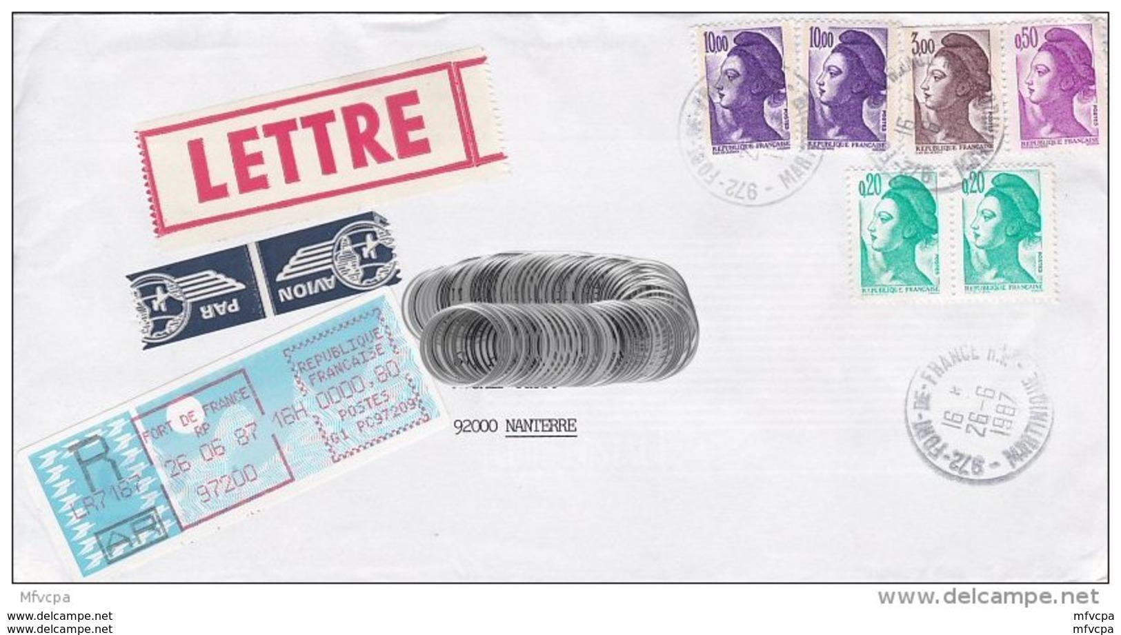 L4J203 Lettre PA Recommandée  AR 24,70f  Fort De France Pour Nanterre  26 06 1987/ Env. - 1982-90 Liberté De Gandon