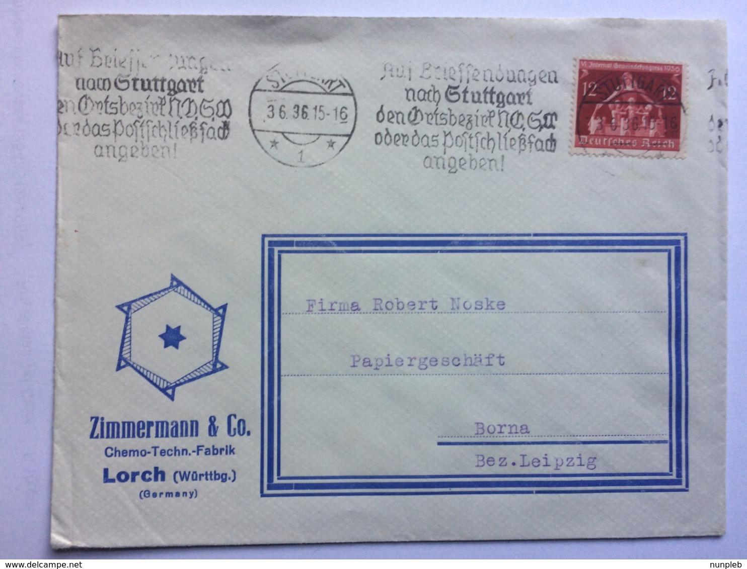 GERMANY 1936 Cover Stuttgart To Borna Illustrated `Zimmermann` Envelope - Cartas