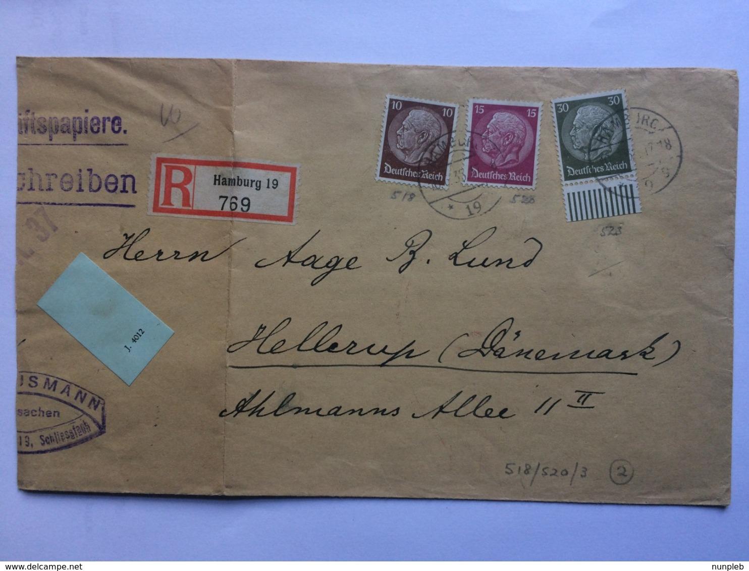 GERMANY 1938 Registered Hamburg Cover To Hellerup Denmark - Deutschland