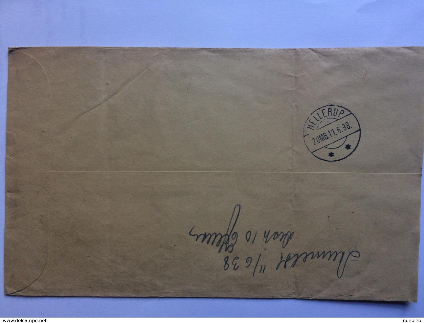 GERMANY 1938 Registered Hamburg Cover To Hellerup Denmark - Germany