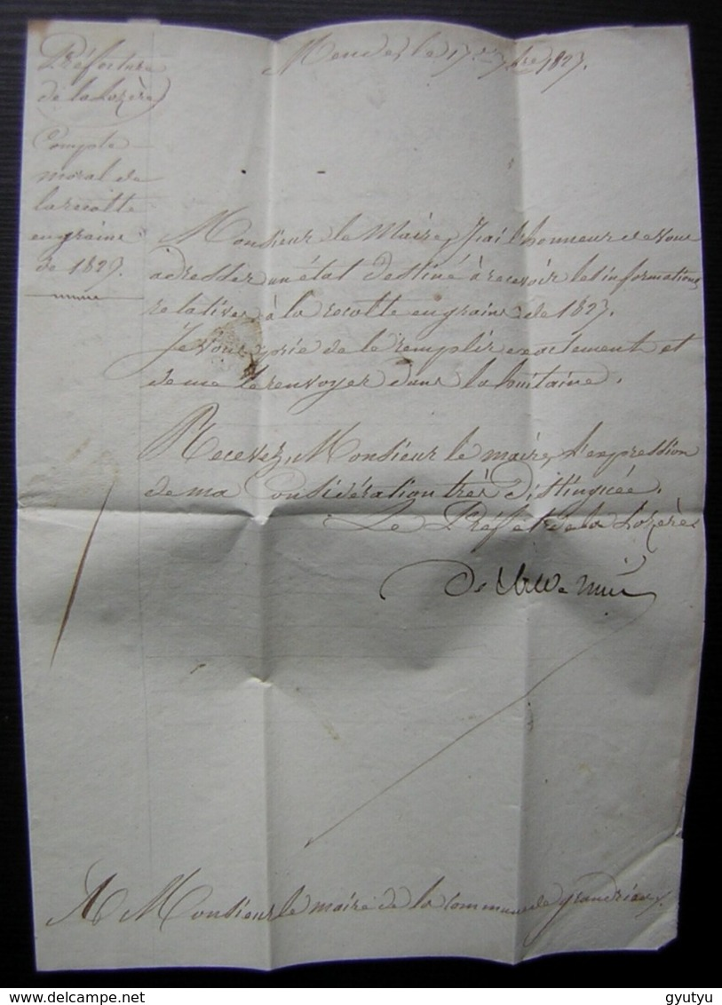 Mende Cursive De 1823 Préfet Dpt De La Lozère Sur Lettre Autographe Du Préfet Pour Le Maire De Grandrieu - Marcophilie (Lettres)