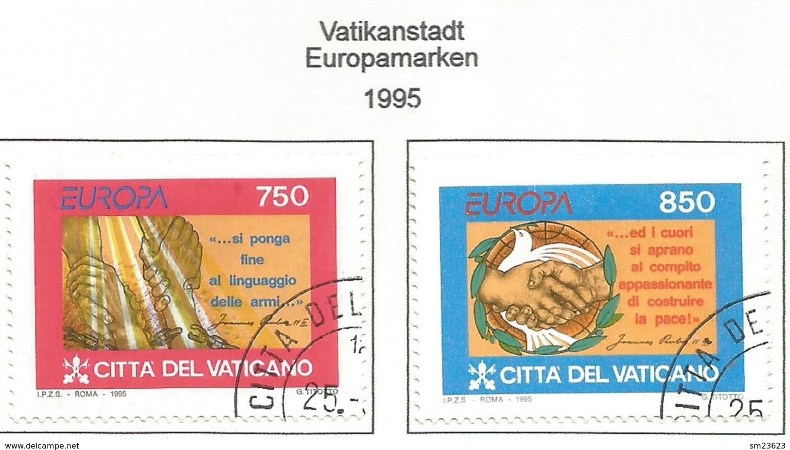 Vatikanstaat 1995  Mi.Nr. 1141 / 1142 , EUROPA CEPT - Frieden Und Freiheit - Gestempelt / Fine Used / (o) - Europa-CEPT