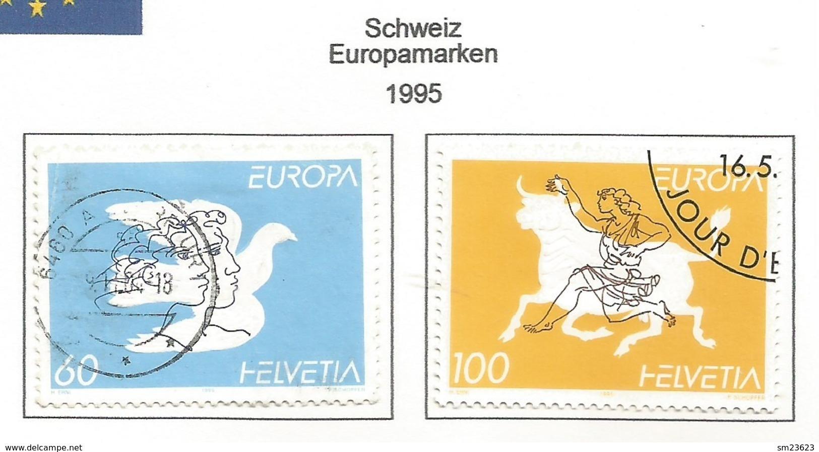 Schweiz / Helvetia 1995  Mi.Nr. 1552 / 1553 , EUROPA CEPT - Frieden Und Freiheit - Gestempelt / Fine Used / (o) - Europa-CEPT