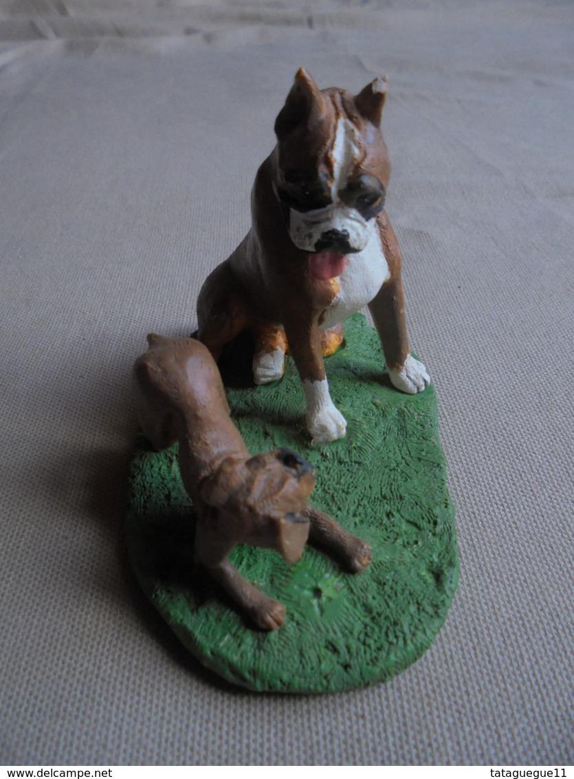 Statuette De Chien - Bull-dog Et Son Chiot - Tiere