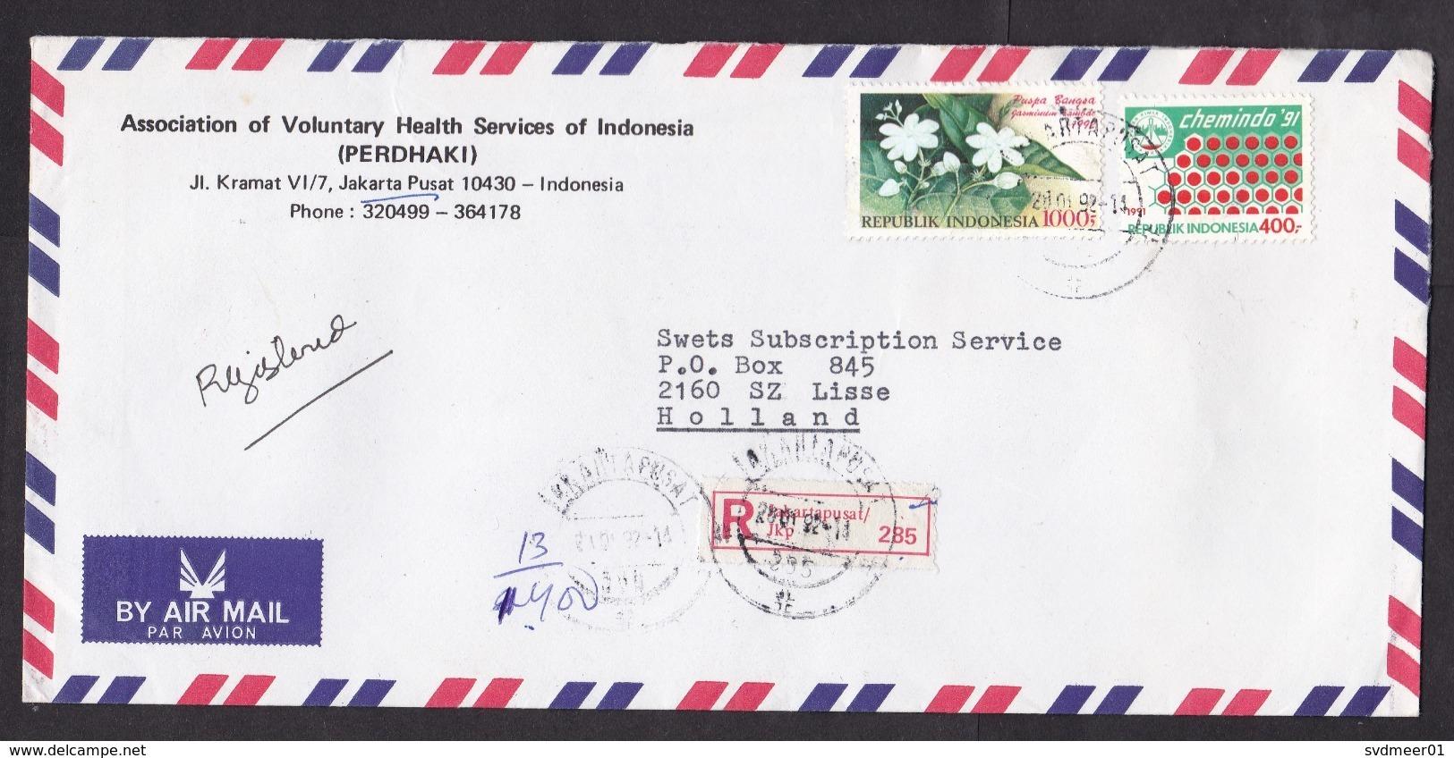 Indonesia: Registered Cover To Netherlands, 1994, 3 Stamps, Chemistry, Flower, R-label Jakartapusat (traces Of Use) - Indonesië