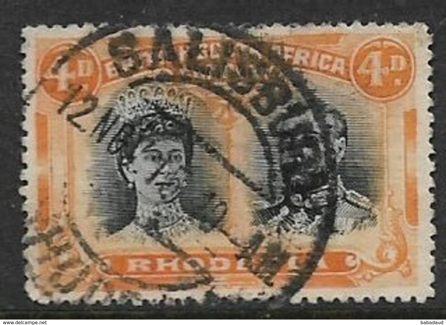 Southern Rhodesia / B.S.A.Co.1910, Doiuble Head,, 4d, Purple & Orange,  Perf 14, Used - Southern Rhodesia (...-1964)