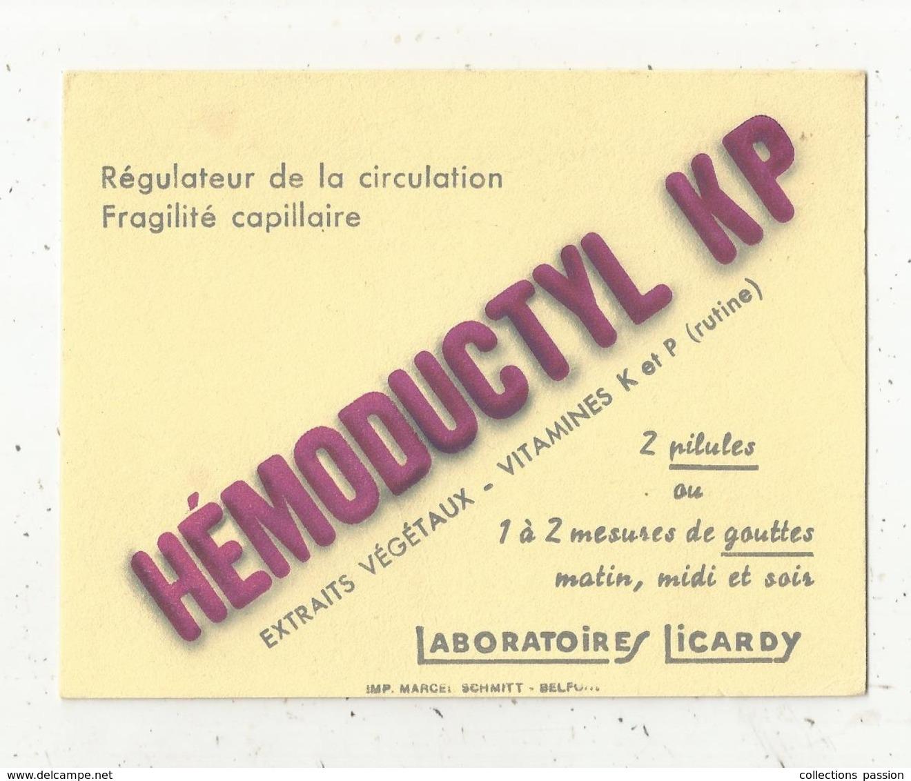 Buvard , Laboratoires LICARDY ,  HEMODUCTYL KP ,régulateur De La Circulation, Fragilité Capillaire,frais Fr 1.45 E - Produits Pharmaceutiques