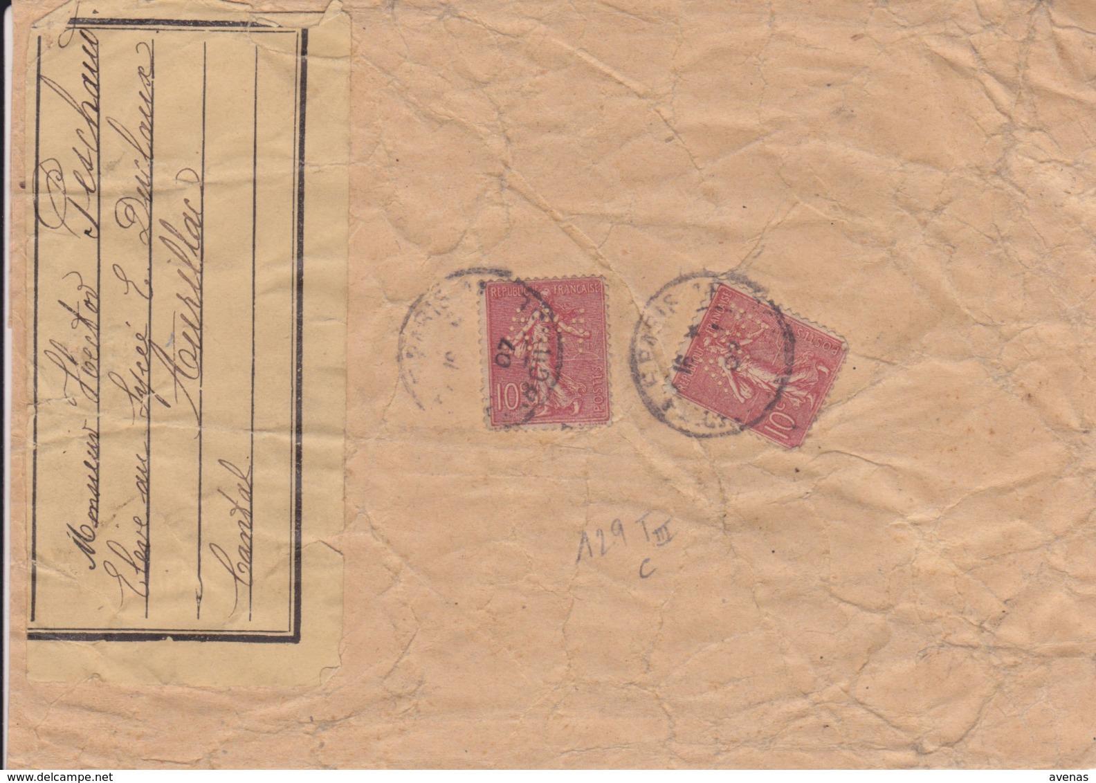 Lettre 1907 PARIS Timbres Semeuse Lignée 10c Yvert 129 Type III Perforé AM - Marcophilie (Lettres)