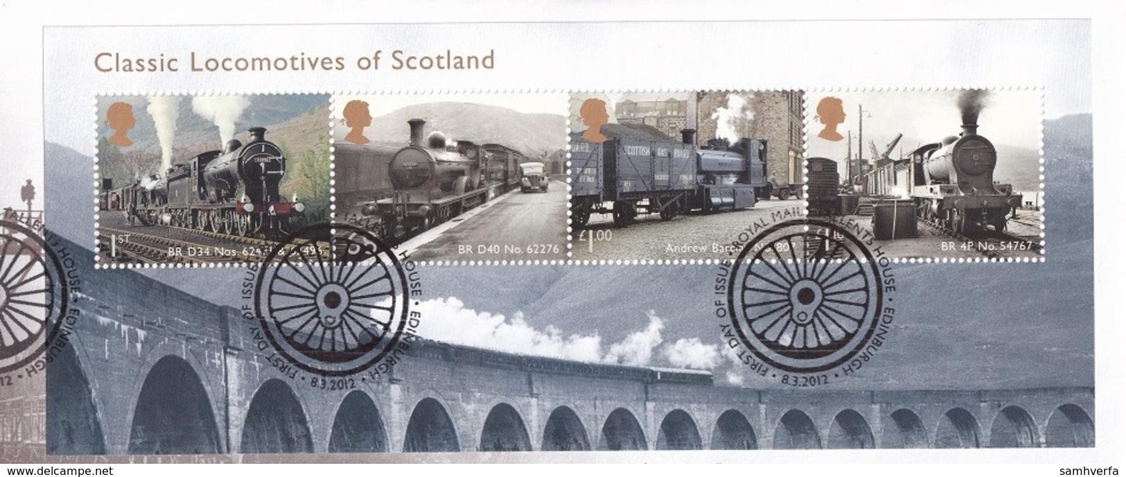 A- Great Britain 2012 - Souvenir Sheet  - Classic Locomotives Of Scotland - 1952-.... (Elizabeth II)