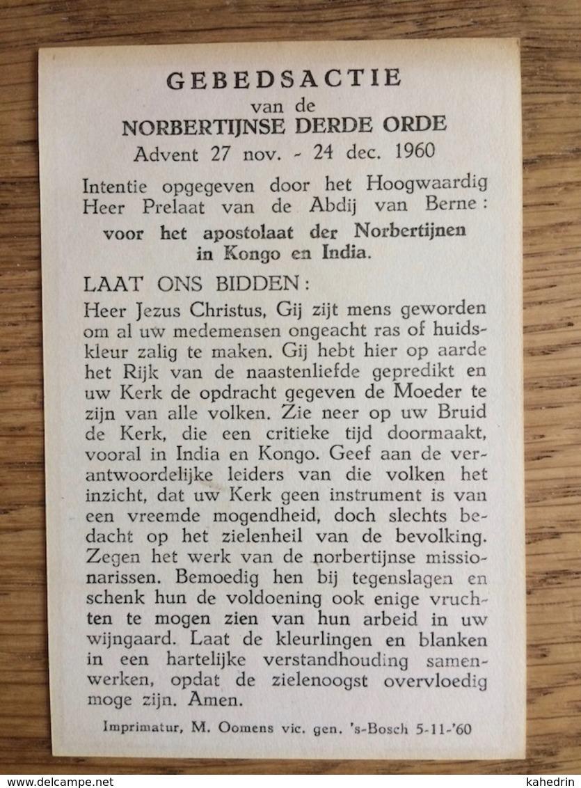 Norbertijnse Derde Orde 1960 Apostelaat Norbertijnen Kongo India - Devotieprenten