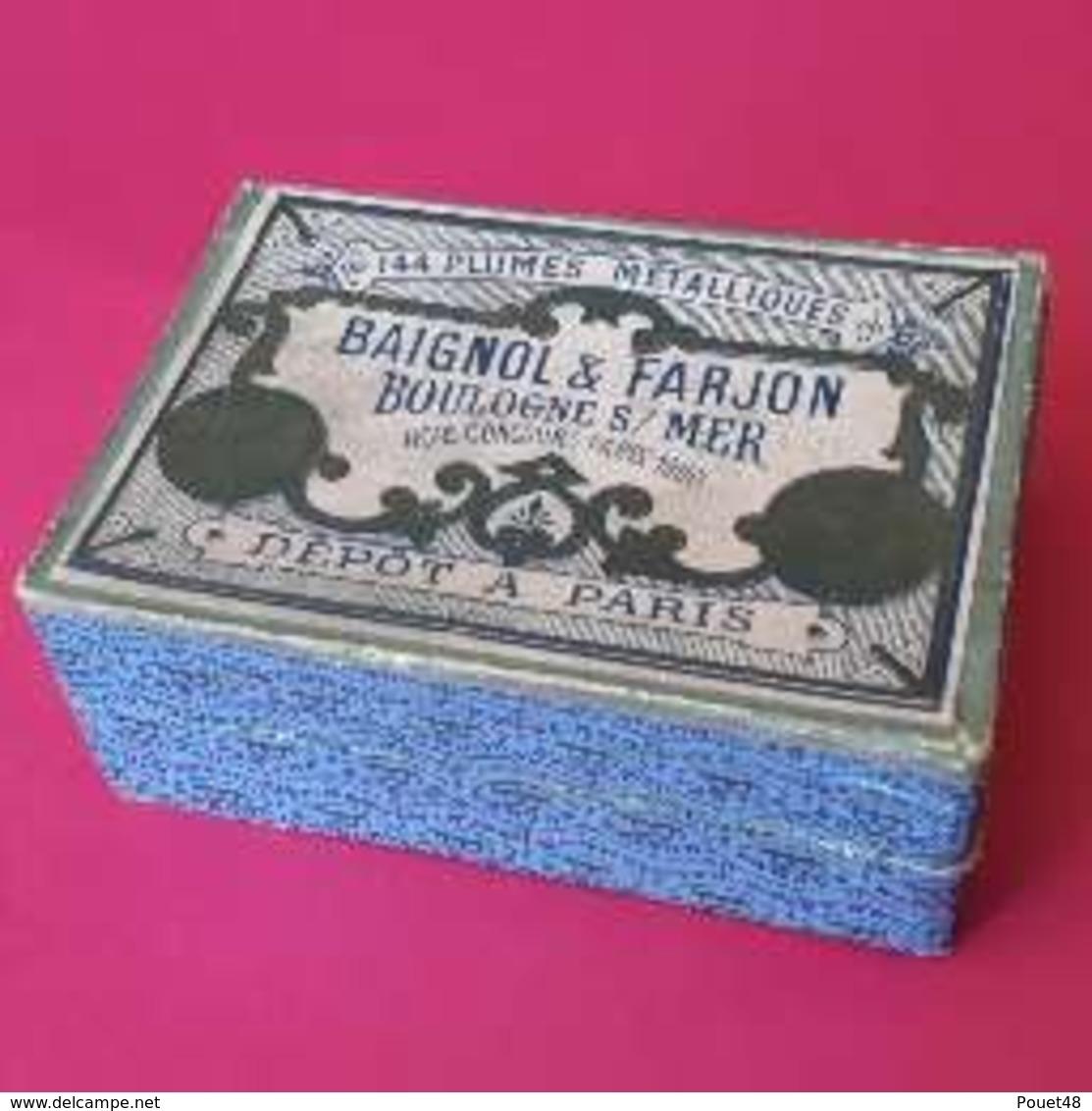Rare Boite De Plumes BAIGNOL & FARJON - Plume Médaille D'Or - N° 825 - Plumes