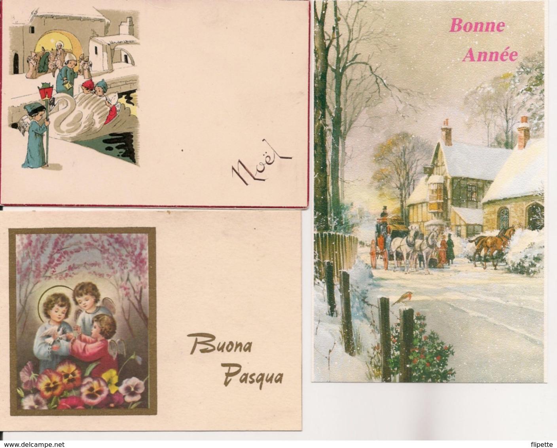 L32d509 -  - Lot De Trois Petites Cartes - Noël, Bonne Année Et Pâques - Other