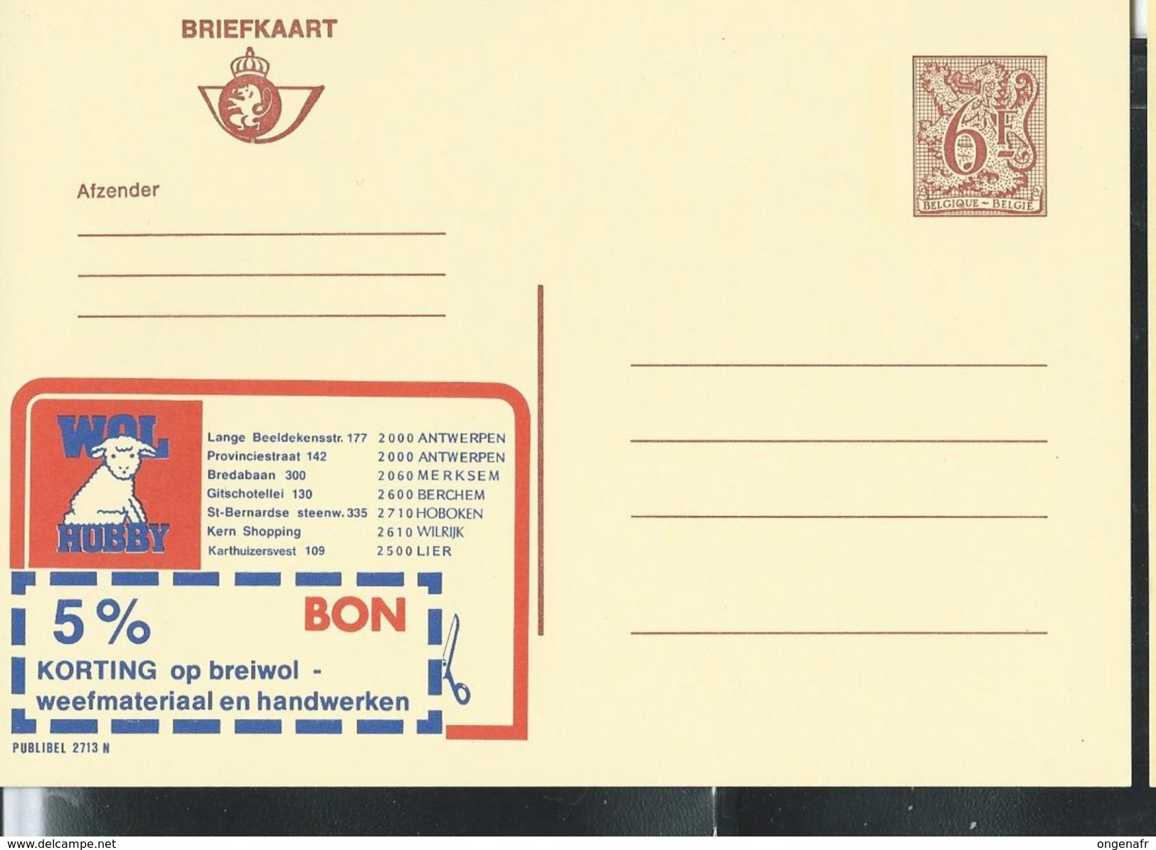 Publibel Neuve N° 2713  ( Laines- Wollen: HUBBY; Moutons) - Stamped Stationery