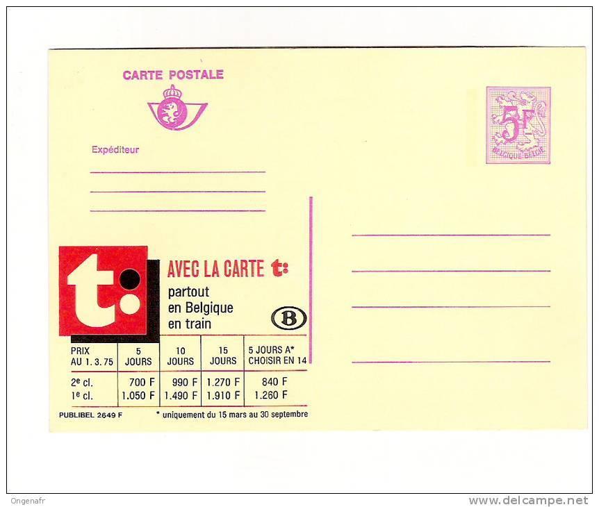 Publibel Neuve N° 2649 (Carte T: Partour En Belgique En Train ;   Chemins De Fer Belges) - Stamped Stationery