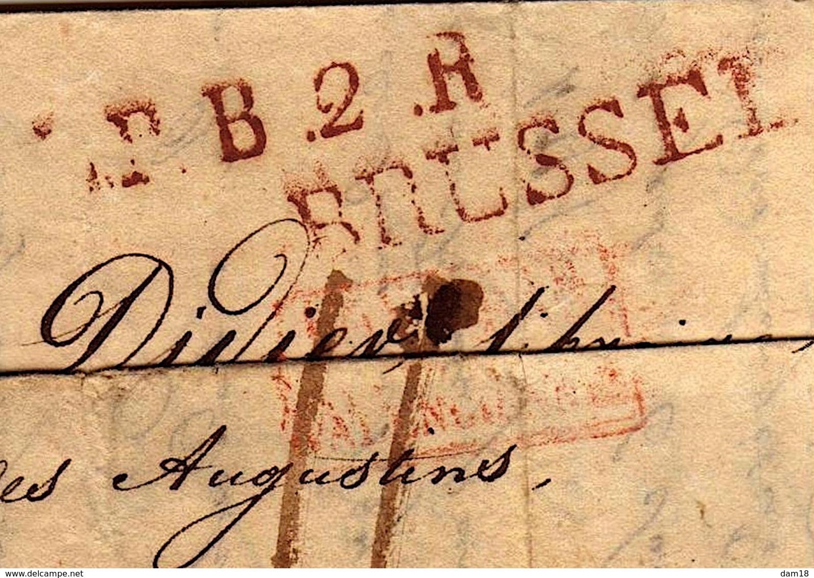 "BRUXELLES 1828 MARQUE ENTREE  ""PAYS BAS PAR VALENCIENNES"" 3 PHOTOS - 1815-1830 (Periodo Olandese)"