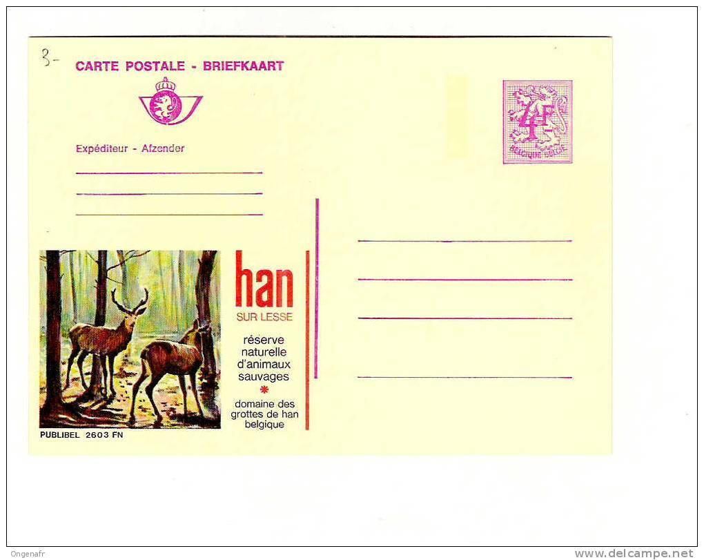 Publibel Neuve N° 2603 FN (HAN SUR LESSE, Domaine Des Grottes Et Parc à Gibier (cerf,chevreuil) - Stamped Stationery