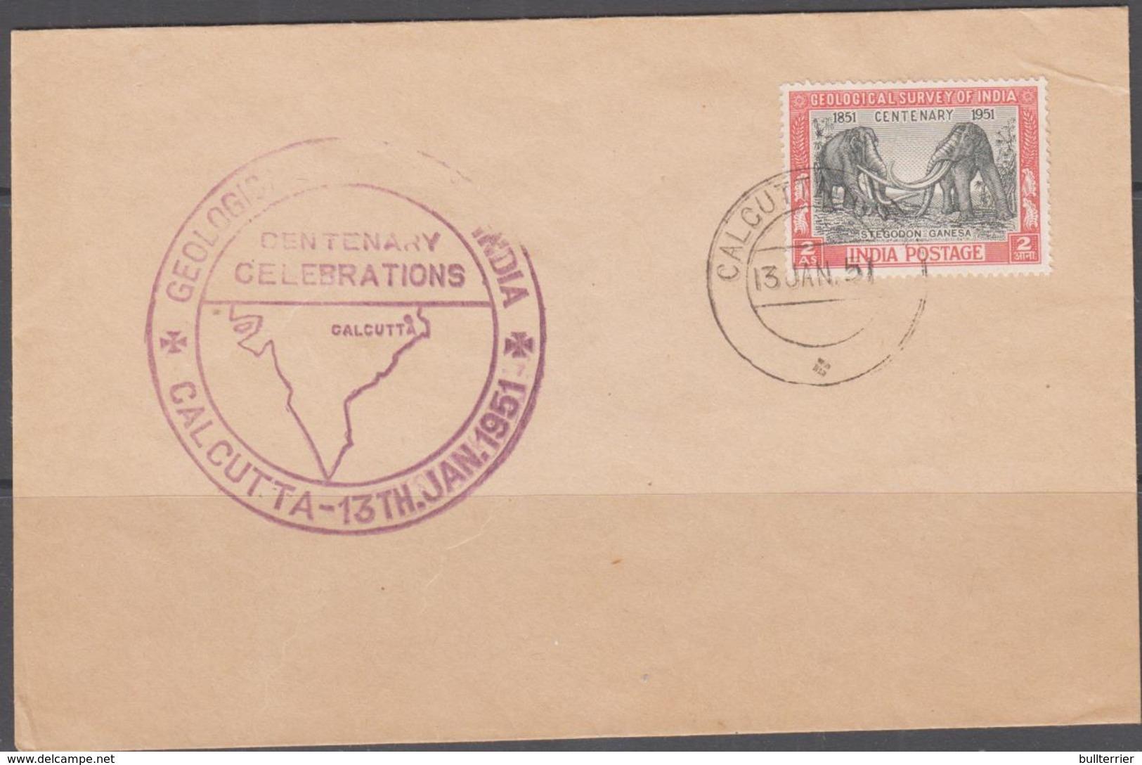 PREHISTORIC ANIMALS - INDIA - 1951 - STEGODON FDC WITH GEOLOGICAL CACHET  AND CALCUTTA POSTMARK - Briefmarken