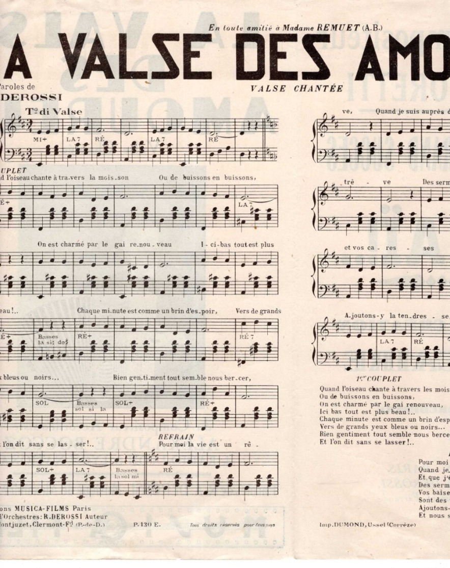 40 60 VALSE ACCORDÉON PARTITION ALEXANDRE BOCCOZ LYON LA VALSE DES AMOUREUX DEROSSI REMUET ±1948 PIANO GUITARE - Musique & Instruments
