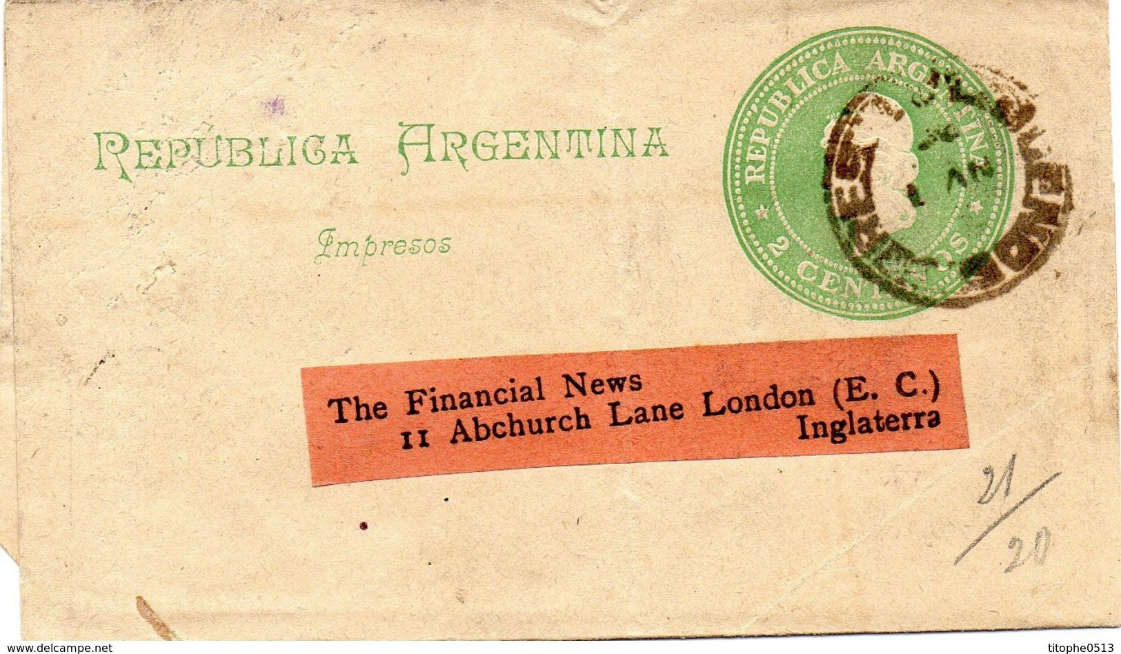 ARGENTINE. Impresos. 2 Centavos. A Destination De Londres. - Enteros Postales
