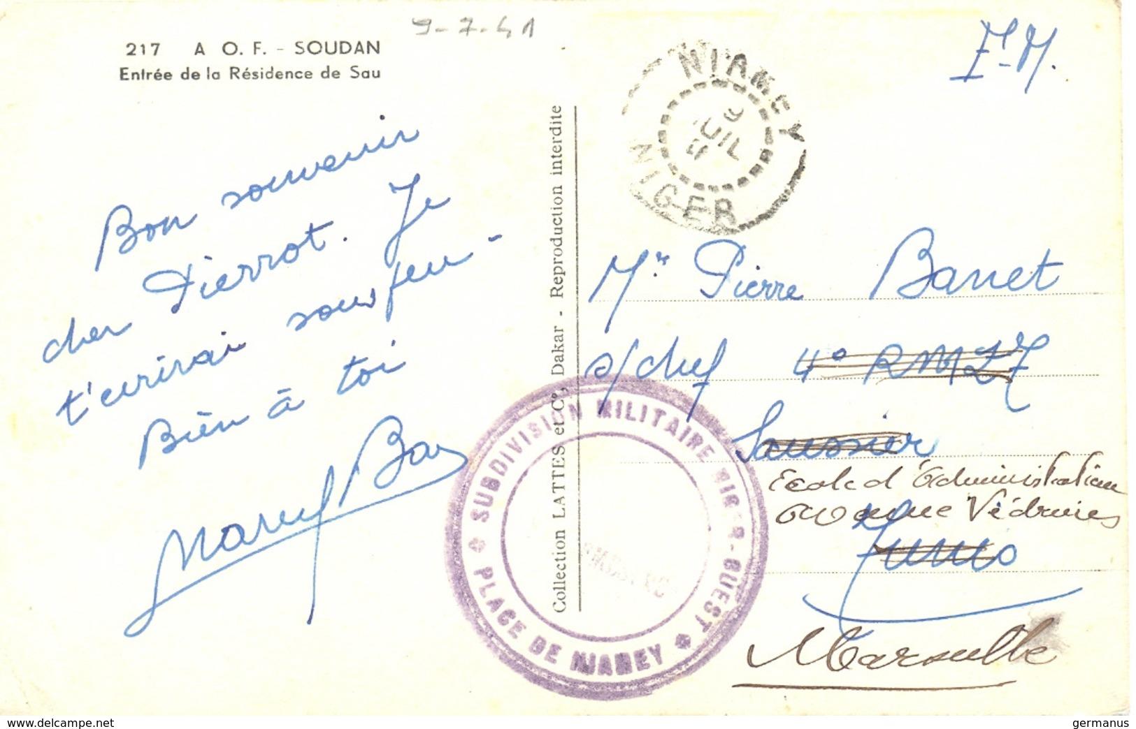 GUERRE 39-45 DIVISION MILITAIRE NIGER-OUEST * PLACE DE NIAMEY * NIGER TàD 9 JUIL 41 - Guerra De 1939-45