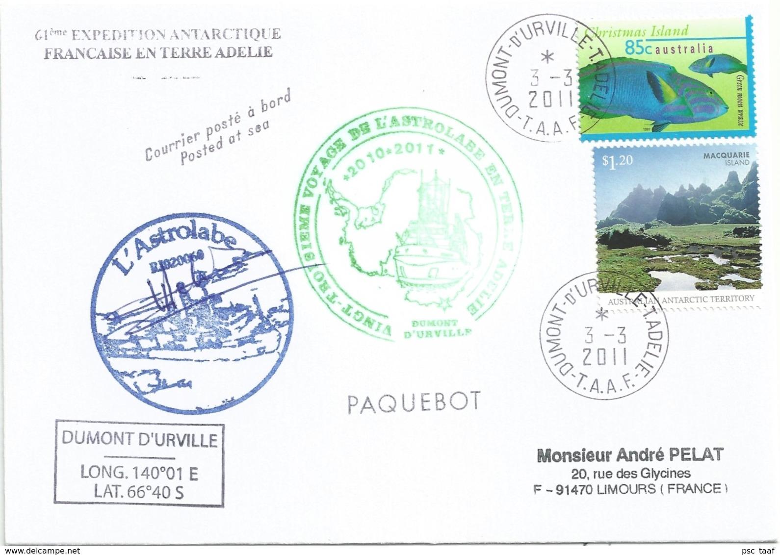 YT 437 - Poissons - Ile Macquarie - Posté à Bord De L'Astrolabe - Dumont D'Urville - 03/03/2011 - Islas Cocos (Keeling)