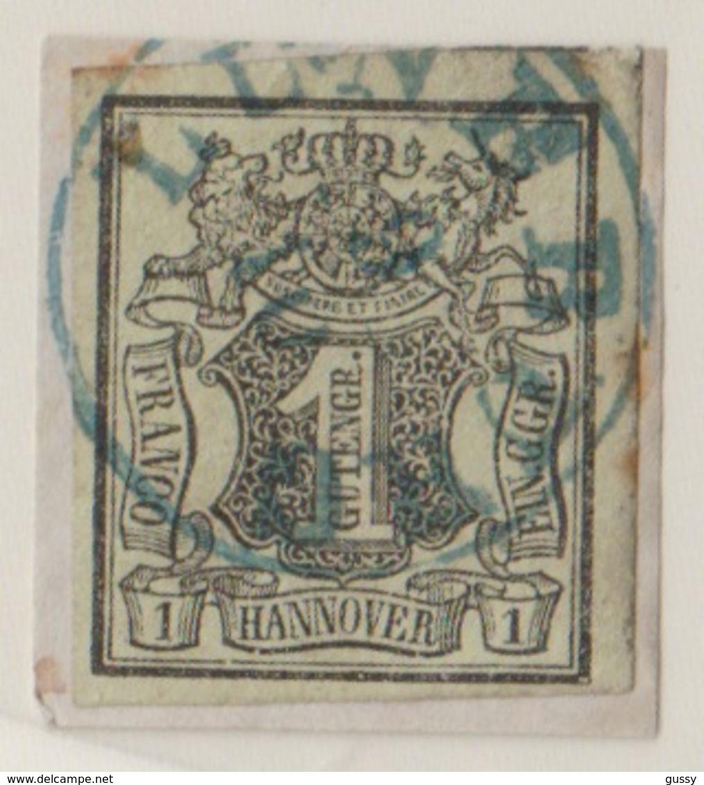 ALLEMAGNE HANOVRE 1850: Le Y&T 2, Superbe Oblitération  Bleue  'LÜNEBURG 9.10' Sur Fragment   LUXE !!! - Hanover