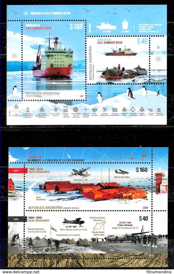 ARGENTINA 2019 ANTARCTIC BRICE-GLACE IRIZAR BATEAUX,STATION MARAMBIO,FAUNA MANCHOTS UNUSUAL COATING BLOC NEUF - Stamps